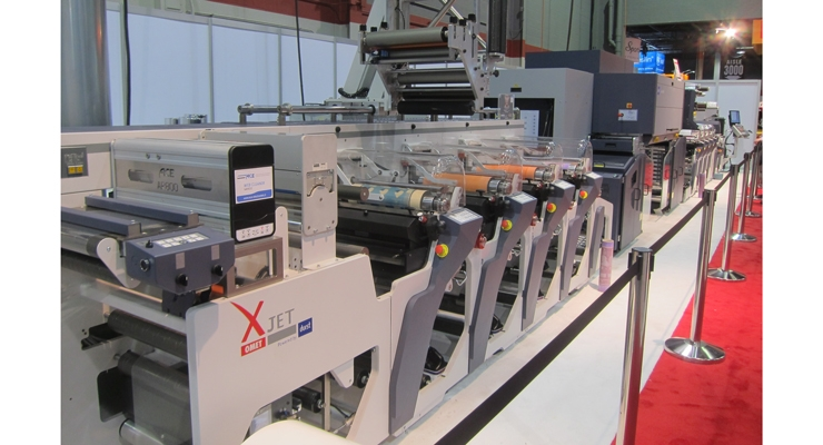 Omet presented the XJet, a hybrid press with a Durst digital inkjet print engine.