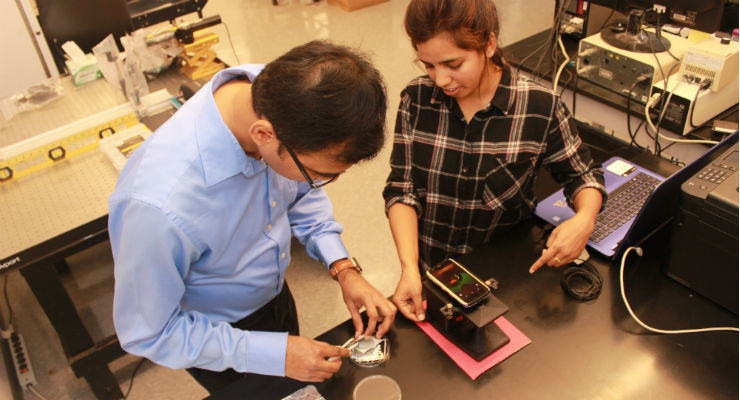 Inspired by other POC devices, Louisiana State University Mechanical Engineering Assistant Professor Manas Gartia in Baton Rouge is researching a new way to detect the BRCA1 gene using smartphones. Image courtesy of Louisiana State University.