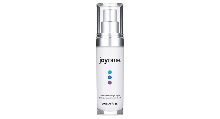 Joyome's AM and PM serums feature dots inspired by a sunrise and sunset, and the inside of the bottle's outer chamber is painted white so the decoration pops.