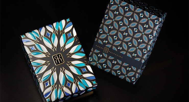 Arkay Packaging's beautiful gift box sets, created exclusively for Luxe Pack Monaco 2018, featured elaborate printing and decorating processes. The lid's very tactile peacock designs resembled fanciful mosaics.