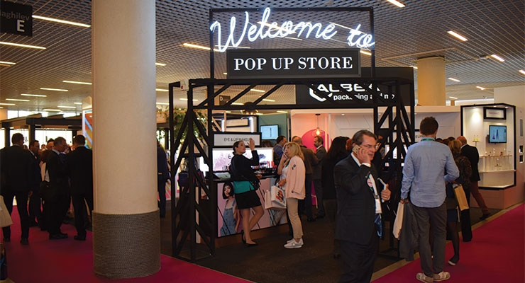 "Albéa set up their booth as a ""pop-up""  concept store, with different displays for various  categories and markets."