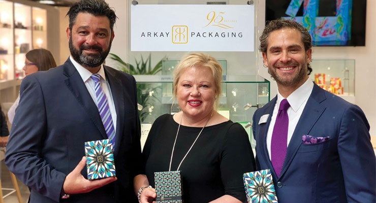 Arkay Packaging (L-R): Gregg Goldman, Laura Carey. Mitchell Kaneff, chairman & CEO