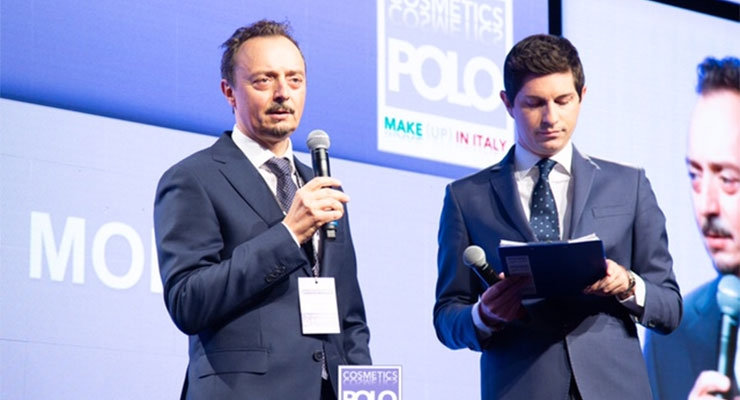 Matteo Moretti (L), chair, Polo Tecnologico de la Cosmesi; and CEO of Lumson