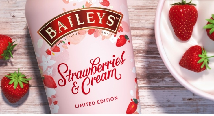A limited edition Baileys Strawberries & Cream bottle.