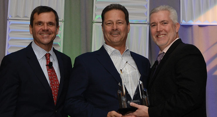 Diversified CPC International President and CEO Bill Auriemma (center) receives the Charles E. Allderdice Jr. Memorial Award from HCPA CEO Steve Caldeira (left) and HCPA chairman David Campbell, VP-regulatory and government affairs, North America, RB.