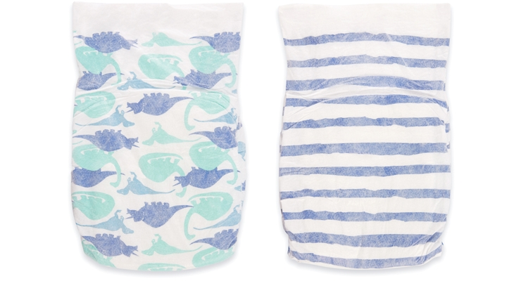Known for its cotton muslin swaddles in signature prints, aden + anais came out with its own line of disposable diapers featuring the same designs.