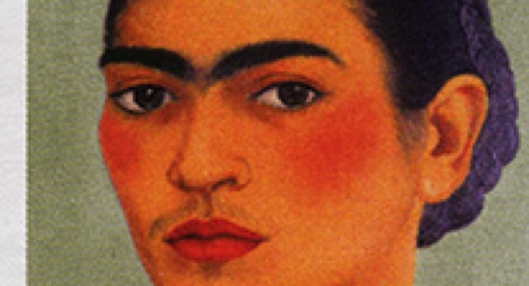 Frida Kahlo, as depicted in this stamp, was known for her works of art and her specific beauty look.