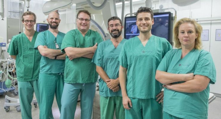 The team of the Heart Valve Center of the Mainz University Medical Center: (fltr) Dr. Felix Kreidel, Dr. Tobias Ruf, Dr. Stephan von Bardeleben, Professor Andres Beiras Fernandez, Dr. Alexander Tamm, and Dr. Angela Kornberger. Image courtesy of Peter Pulkowski, Mainz University Medical Center.