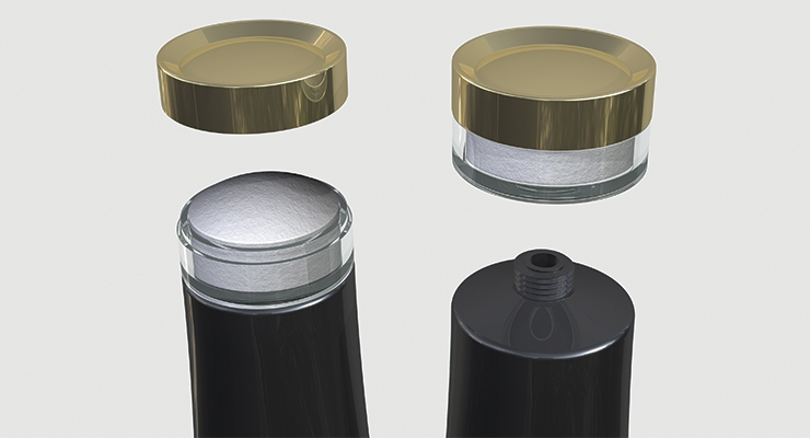 The Glide Cap from RLM packages two complementary products separately, one in the tube and one via a dispensing insert in the cap.
