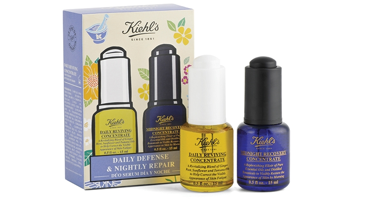 Kiehl's facial serum companion kit features precision  Virospack push-button dropper assemblies.