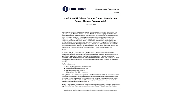 RoHS III and Phthalates: Can Your Contract Manufacturer Support Changing Requirements?
