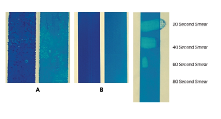 Figure 3.  Kyocera test bed printing at 250 feet/min of an aqueous inkjet ink sets on PET substrates.  A: original PET film;  B: PET film precoated with PG003 dispersion and a polyurethane binder;  C: timed finger smear test on cyan color printed on the precoated PET.