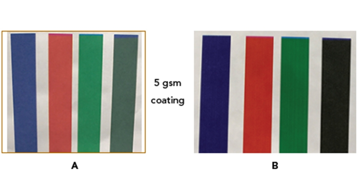 Figure 4.  Kyocera test bed printing at 250 feet/min of an aqueous inkjet ink set on a porous substrate. Three secondary colors (blue, red and green) and one composite black (cyan, magenta and yellow) are printed. A: original paper liner for corrugated board;  B: paper liner precoated with PG003 dispersion and a polyurethane binder