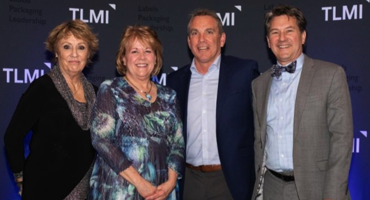 All four Eugene Singer Award winners (L-R):  Sandy Petersen of Digital Label Solutions, Lori Campbell of The Label Printers, Jim Voltoline of Consolidated Label, and Dave Greiner of Precision Label, Inc.