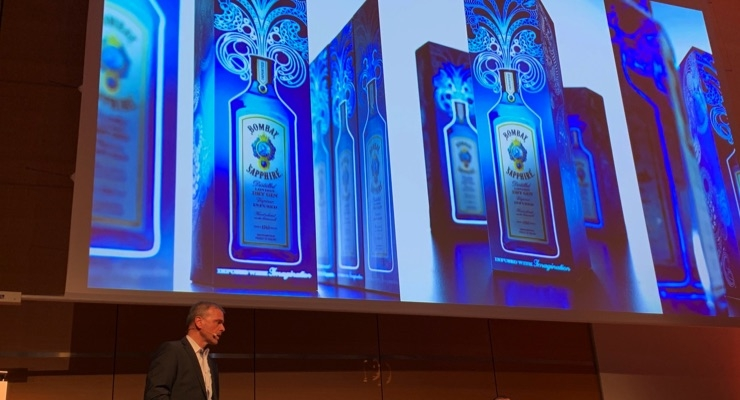 Juergen Knapps, key account manager, KARL KNAUER KG, discusses the Bombay Gin box featuring printed electronics.