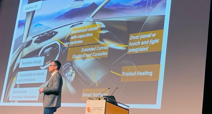 Dr. Erhard Barho, head of functional surface solutions, Continental, discusses opportunities for printed electronics in automobiles.