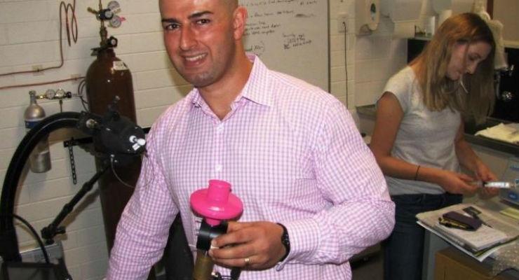 Flinders University researcher Dr. Roger Yazbek is developing breath testing methods for chronic diseases, including celiac and gastrointestinal damage in children. Image courtesy of Flinders University.