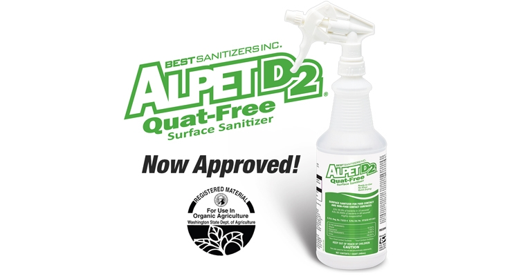 Surface Sanitizer Approved Under Washington State Dept. of Agriculture Organic Food Program