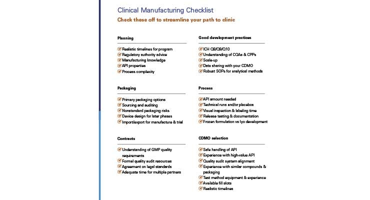 Figure 2. Clinical manufacturing checklist