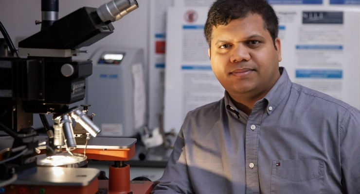 Bharath Babu Nunna, a recent NJIT Ph.D. graduate, worked to develop a nanotechnology-enhanced biochip to detect cancers, malaria, and viral diseases such as pneumonia early in their progression with a pin prick blood test. Image courtesy of NJIT.