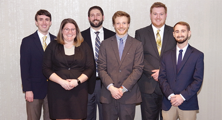 Student Poster Winners were (back row from Left to Right) Travis Holbrook, Benjamin Almada and  Dane Wedgeworth; (front Row Left to Right) Karina Reynolds Levi Hamernick and Chandler Bell.