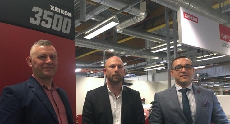 Technograph joint owner Piotr Mrozek with Xeikon's Sabastien Stabel and Technograph joint owner Konrad Staroscik