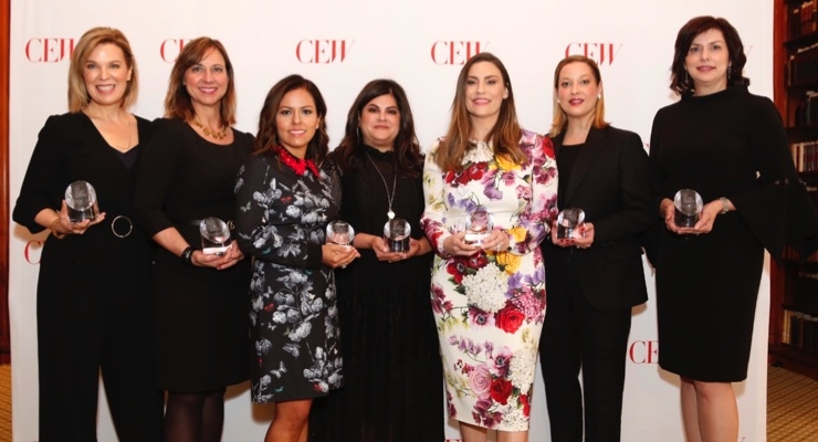 Top Talent Honorees are (l-r): Megan Crokos, Bath & Body Works; Rachel Painter, The Estée Lauder Companies; Marcie Hoklas, Walgreens-Boots Alliance; Jennifer Cohen, Sephora; Suzanne Pengally, bareMinerals; Salina Urben, Clarins; and Mary Farrell Rodrigues, RéVive Skincare.