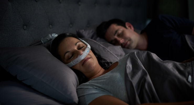 AirFit P30i nasal pillows tube-up CPAP mask. Image courtesy of Business Wire.