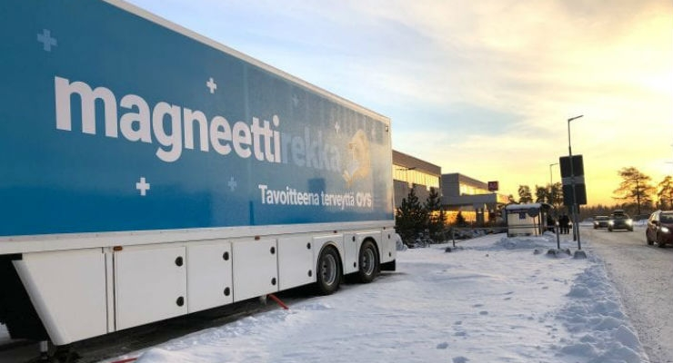 A mobile MRI unit serves patients living outside of Oulu, the region's administrative center. All images courtesy of GE Healthcare.
