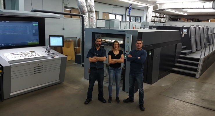 Francis, Genevieve and Robert Cote (from left to right) want to double their sales with the new Speedmaster XL 106/Courtesy Heidelberg