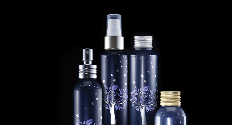 Threaded neck finish oval and flat shouldered highly decorated aluminum bottles from ABA Packaging