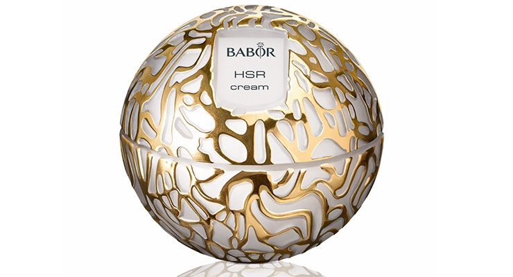Babor's HSR Lifting Extra-Firming Cream is housed  in a jar with a metallized decoration.