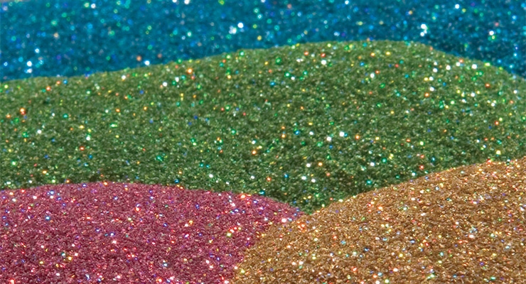 Infinity Foils' Decorative Glitter is available for packages and products.