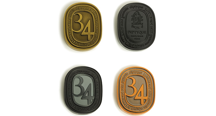 Metapack's zamac solid perfume compacts for Diptyque, in different finishes including antique brass, copper and black