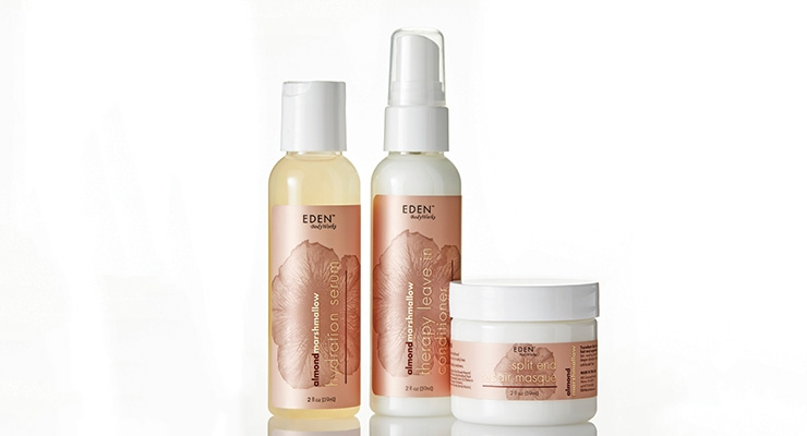 Overnight Labels gave Eden BodyWorks' hair care line labels a toned-down metallic look.