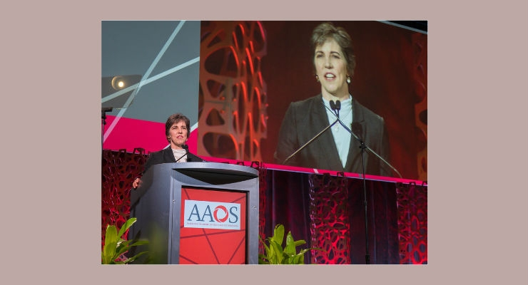 Kristy L. Weber, M.D., addresses AAOS members during her inaugural presidential speech. Image courtesy of AAOS.