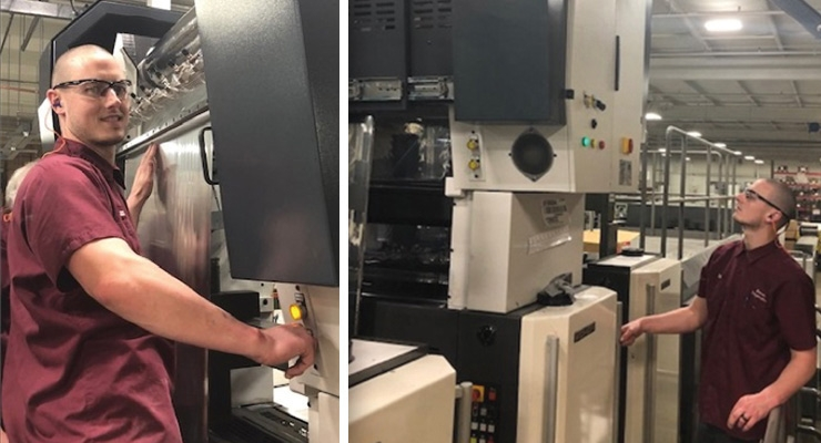 Rohrer system operator Kace Gavin fires up the Eagle Cold Foil  system at Rohrer's Buford, GA production facility. The system operates  in-line with a Komori LSX40 offset printing press.