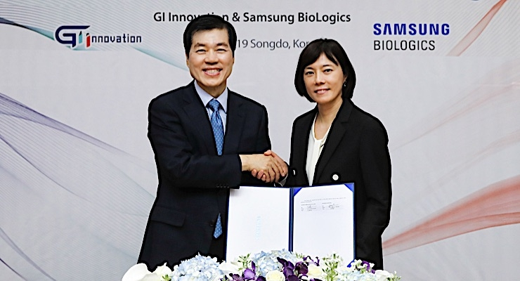 Samsung BioLogics (CEO, Tae Han Kim) and GI Innovation (CEO, Soo Yeon Nam)
