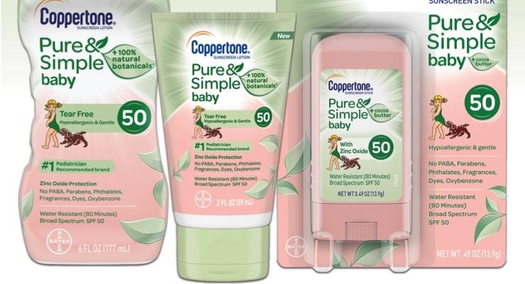 Coppertone Pure & Simple sun care for babies.
