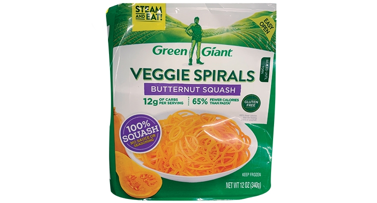 Green Giant Veggie Spirals PrimaPak Package, produced by Sonoco,  received three 2019 Silver awards – Expanding the Use of Flexible Packaging, Technical Innovation and Packaging Excellence – from the FPA. (Photo courtesy of FPA)