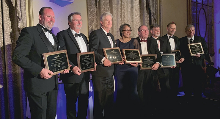 The 2019 NAPIM Printing Ink Pioneers are, from left, Jean Menard,  Dave Maternowski, Daryl Collins, Dr. Juanita Parris, Les Watkins,  John Sergeant, George Fuchs and Brian Chwierut.