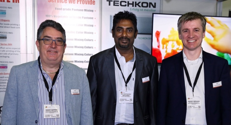 The specialist team from Epple at Gulf Print & Pack 2019, from left, Danny Quermia, Quermia Graphics; Anil Kumar, Bab Al Rayan Inks & Printing; Helmut Fröhlich, Epple Druckfarben AG. © Epple Druckfarben AG