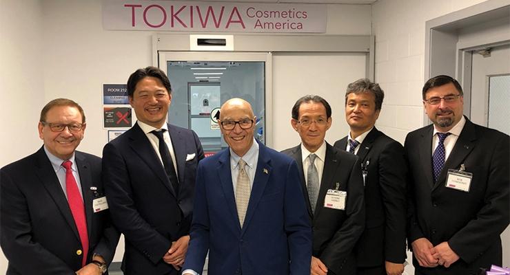At the Tokiwa ribbon-cutting ceremony (L-R): Mr. Mike Castellano, EVP Tokiwa Holdings America; Mr. Watanabe, managing director, Carlyle Group, Japan; Gerald Tamburro, mayor of Monroe Township, NJ; Mr. Hibino, CEO Tokiwa Corp.; Mr. Ichioka, EVP Tokiwa Corp.; Mr. Robert Congionti, VP operations Tokiwa Cosmetics America.