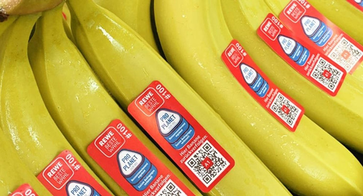 Rewe bananas have been sporting a PS label with a specific QR code.