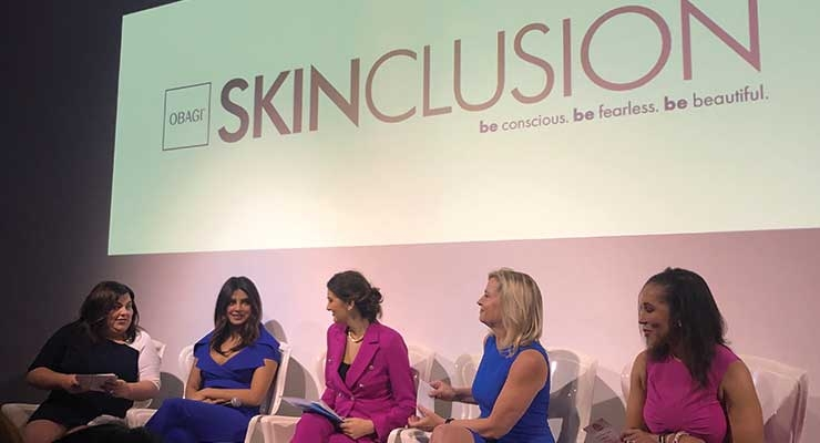 To herald its new Skinclusion initiative, Obagi president Jaime Castle (left) hosted a panel discussion. Joining Castle were (l-r) Skinclusion ambassador Priyanka Chopra Jonas, Josipa Palac of the International Cultural Diversity Organization, Dr. Elizabeth L. Haines of Project Implicit, and Dr. Jeanine Downie, leading dermatologist at Image Dermatology.