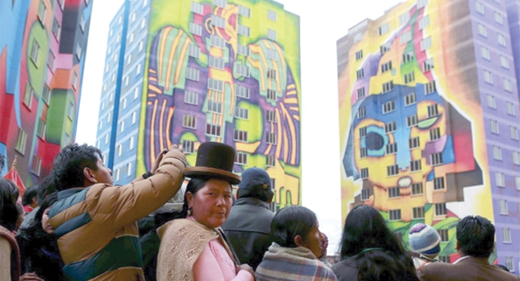 Photo Credit: Painted buildings in La Paz by Roberto Manami. Source Lazy Penguins