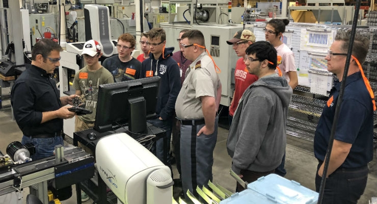 Valley Career and Technical Center Computer Integrated Manufacturing (CIM) students tour Cadence's Va. facility to learn about manufacturing hands-on. Images courtesy of Cadence Inc.