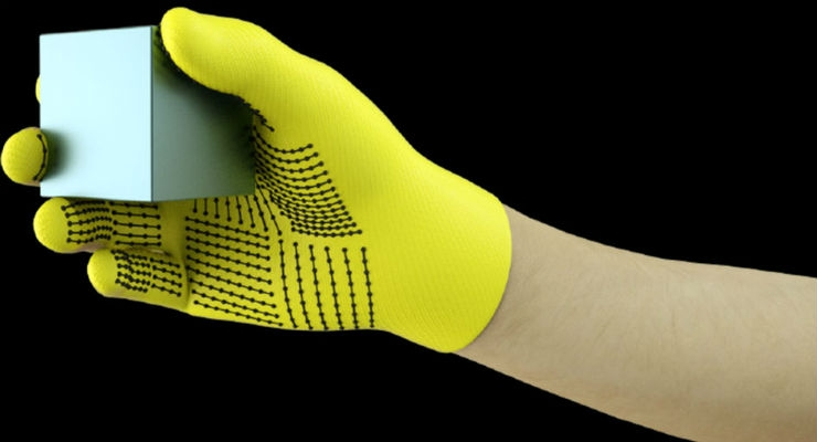 MIT researchers have developed a low-cost, sensor-packed glove that captures pressure signals as humans interact with objects. The glove can be used to create high-resolution tactile datasets that robots can leverage to better identify, weigh, and manipulate objects. Image courtesy of the researchers.