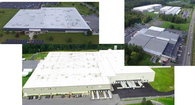 Tessy Plastics' three locations: Upper left is the Skaneateles plant; upper right is the Elbridge facilities, with the South plant (upper left), West plant (upper right), and East plant (bottom); bottom is the Baldwinsville plant.