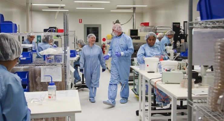 Workers at MINIFAB's Melbourne based microfluidics manufacturing facility. Photo: MINIFAB